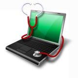 Ordinateur portatif de santé, vert de cahier Image stock