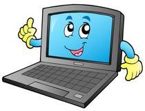 Ordinateur portatif de sourire de dessin animé Images stock