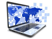 Ordinateur portatif et cube bleu en carte Image stock