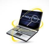 Ordinateur portatif et Internet   Image libre de droits