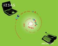 Ordinateur portatif et machine à écrire Images stock