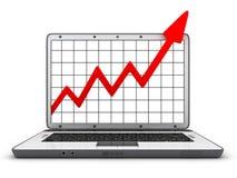Ordinateur portatif et statistique Images stock
