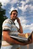 Ordinateur portatif et téléphone Photo stock