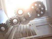 Ordinateur portatif et trains Informatique, service en ligne de PC de soutien Image stock