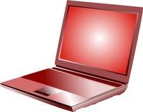 Ordinateur portatif rouge Images libres de droits