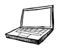 Ordinateur portatif sur le fond blanc Photo libre de droits