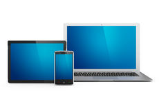 Ordinateur portatif, tablette et téléphone portable Photo stock