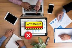 ordinateur 404 problème d'avertissement non trouvé d'échec des 404 erreurs Images stock