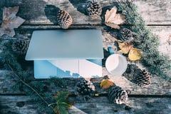 Ordinateur sur une table en bois avec du café et des pins extérieurs Image libre de droits