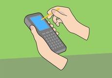 Ordinateur tenu dans la main avec des mains Image stock