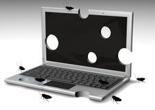 ordinateurs portatifs introduits des erreurs pour tests Image stock