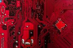 Ordinateurs rouges de carte PCB photographie stock