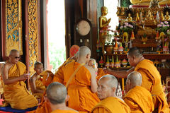 The ordination ceremony that change the Thai young men to be the Stock Photos