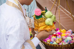 Ordination ceremony for man becoming a new monk or priest, Royalty Free Stock Image
