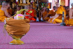 This is Ordination Ceremony and Thai Culture. PATHUM THANI THAILAND - JULY 5, 2015 : Equipment for the new priests This is Ordination Ceremony and Thai Culture royalty free stock photography