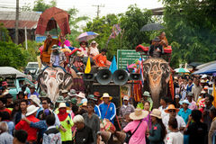 Ordination parade on elephant's back Festival. Royalty Free Stock Photo