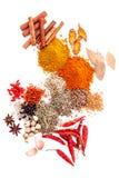 Ordinato del pepe nero delle spezie, pepe bianco, fieno greco, cumino, b Fotografia Stock Libera da Diritti