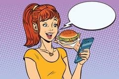 Ordinazione online dell'adolescente della ragazza gli alimenti a rapida preparazione dell'hamburger illustrazione vettoriale