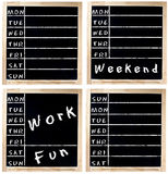 Ordine del giorno di settimana sulla lavagna Fotografia Stock Libera da Diritti