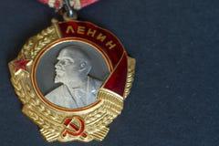 Ordine di Lenin su fondo nero Immagini Stock Libere da Diritti
