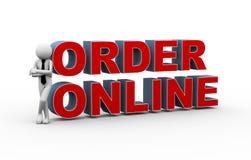ordine online dell'uomo d'affari 3d Fotografie Stock Libere da Diritti