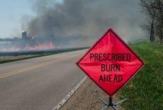 Ordinerat jordbruks- brännskadaområde och tecken arkivfoto