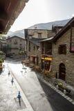 Ordino Street. Andorra. Sunny terrace bar on a street in Ordino. Andorra Royalty Free Stock Photos