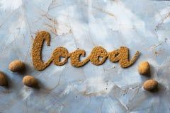 Ordkakao och kakaopulvret Royaltyfria Foton