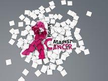 Ordkampen mot cancerbegreppslägenheten, illustrationen 3d isolerade grå färger stock illustrationer