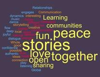 Ordmoln av berättelsen och gemenskap Fotografering för Bildbyråer