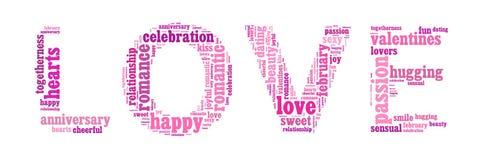 Ordmoln av förälskelse Arkivbild