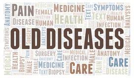 Ordmoln för gamla sjukdomar vektor illustrationer