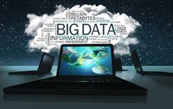 Ordmoln med uttryck av stora data Arkivfoto