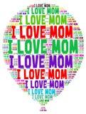 Ordmolnet älskar jag mamman Arkivbilder