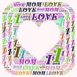 Ordmolnet älskar jag mamman Royaltyfri Bild