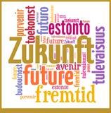 Ordmolnframtid i olika språk Arkivbilder