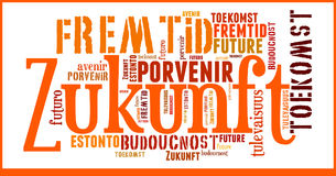 Ordmolnframtid i olika språk Arkivbild