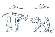 Ordna till för att förbinda affärsmän som att sätta in som är elektriskt, pluggar in begrepp för framgång för lag för hålighet en vektor illustrationer