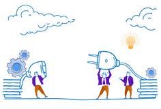 Ordna till för att förbinda affärsmän som att sätta in som är elektriskt, pluggar in begreppet för framgång för laget för hålighe royaltyfri illustrationer