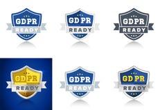 Ordna till för regleringen för skydd för allmänna data för GDPR i EU - uppsättning av emblem för internetaffär Royaltyfria Bilder
