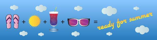 Ordna till för sommar, vektorillustrationen - titelrad/baner vektor illustrationer
