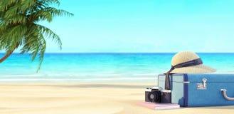 Ordna till för sommarsemestern, loppbakgrund, strand med palmträdet, och resväskor, 3D framför vektor illustrationer