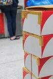 ordnad brun pappbunt för askar Fotografering för Bildbyråer