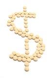 ordnade dollarpills shape symbol Fotografering för Bildbyråer