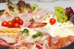 Ordnade kött- och cheesprodukter Royaltyfri Foto