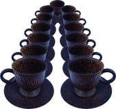 Ordnade kaffekoppar i rad Royaltyfria Foton