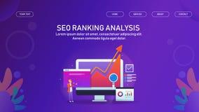Ordnende Analyse Seo, Suchmaschinen-Optimierung, on-line-Geschäftswachstum, digitales vermarktendes Daten Analyticskonzept stock abbildung