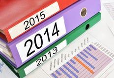 2013, 2014, 2015 Ordner Stockbilder