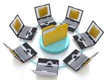 Ordner angeschlossen an Computernetzwerk Stockbilder