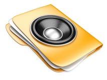 Ordner 3d mit Sprecher. Audio-buchkonzept Lizenzfreies Stockfoto